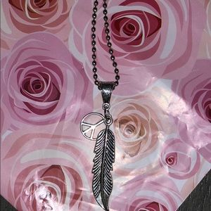 Cute feather and peace sign necklace